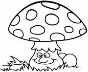 champignon amanite en foret dessin à colorier
