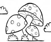 champignons avec nuage dessin à colorier