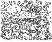 champignon mandala adulte dessin à colorier