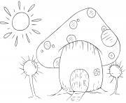 maison de champignon avec soleil et arbres dessin à colorier