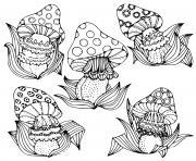 fantasy mushroom champignon dessin à colorier
