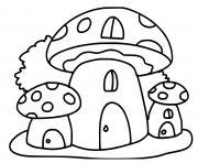 maisons en forme de champignon dessin à colorier