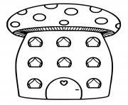 maison en forme de champignon amanite dessin à colorier