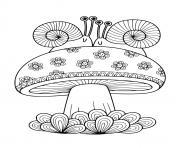 champignon adulte avec deux escargots dessin à colorier