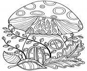champignon en forme de maison dessin à colorier