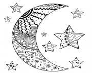 lune et etoile avec des motifs abstraits mandala dessin à colorier