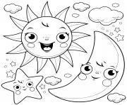 etoile lune soleil nuages dessin à colorier