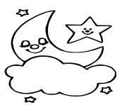 etoile heureuse au ciel et lune fait dodo dessin à colorier