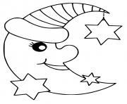 lune etoiles pret pour le sommeil dessin à colorier