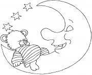 nounours fait dodo avec la lune dessin à colorier