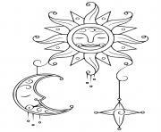 soleil lune etoile dessin à colorier