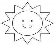 adorable soleil souriant dessin à colorier