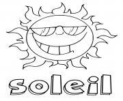 soleil avec le texte dessin à colorier