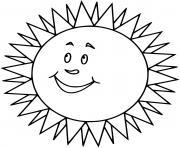 soleil sourire avec beaucoup de rayonnement dessin à colorier