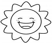 soleil kawaii sourire sun dessin à colorier