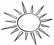 soleil avec des rayonnement pointus dessin à colorier