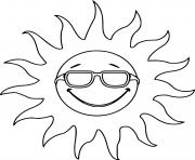 soleil chaleur sourire avec lunette dessin à colorier