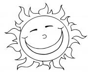 soleil rayonnement sourire dessin à colorier