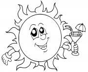 soleil avec une boisson rafraichissante dessin à colorier