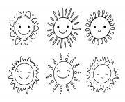 soleil sous toutes ses formes dessin à colorier