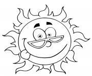 soleil rigolo avec des lunettes dessin à colorier
