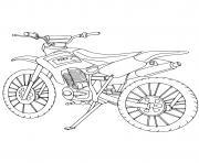 moto cross bike stationne dessin à colorier