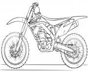 moto cross de course kawasaki dessin à colorier