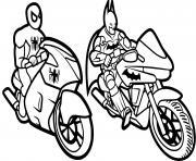 moto de batman et spiderman dessin à colorier