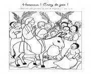 hosanna criez de joie beni soit celui qui vient au nom du seigneur dessin à colorier