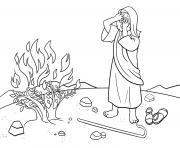 Burning Bush Exodus 3_1 12_03 dessin à colorier