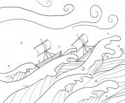Storm and Jesus in Boat Mark 4_35 41_01 dessin à colorier