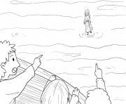 Walking on Water Matthew 14_22 33_02 dessin à colorier