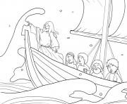 Storm and Jesus in Boat Mark 4_35 41_03 dessin à colorier