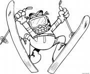 coloriage Garfield expert skieur saut ski