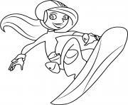 fille fait du snowboard dessin à colorier