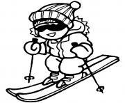 ski alpin enfant dessin à colorier