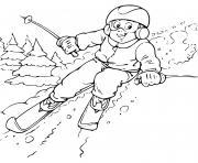 enfant qui fait du ski dessin à colorier
