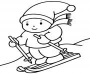 enfant ski descente de ski dessin à colorier