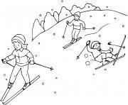 famille fait du ski dessin à colorier