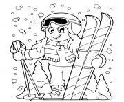 femme fait du ski sport hiver dessin à colorier