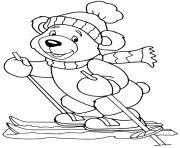 ourson skieur ski de montagne dessin à colorier