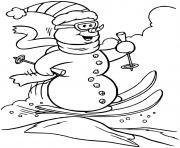 bonhomme de neige fait du ski dessin à colorier