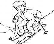 coloriage enfant qui apprend a skier