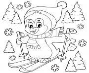 pinguoin fait du ski dessin à colorier