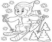 ski facile maternelle enfant sport hiver dessin à colorier