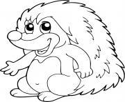 petit herisson epineux dessin à colorier