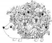 herisson mandala fleurs et roses dessin à colorier