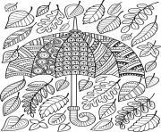 feuilles automne parapluie adulte mandala dessin à colorier