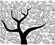 feuilles et arbre automne dessin à colorier