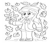 fille prend une feuille automne arbre dessin à colorier